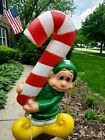 Vintage Elf Candy Cane Plastic Blow Mold Lighted Outdoor Christmas Decor 3