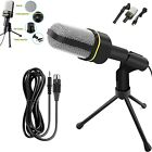 For Computer PC Phone Microphone Desktop With Mini Stand Tripod Audio Recording