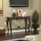 Sofa Table Wood Glass Wrought Iron Hallway Console Cherry Finish Furniture