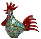 Hand Blown Italian Murano Styled Rooster Speckled 575 Multi Colored Mint