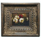 Framed miniature oil painting art of white flowers in garden with ornate frame