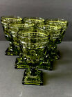 Vtg INDIANA GLASS Mini  GOBLET Avocado Green Colony Park Lane 3.5