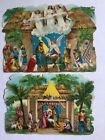 Antique Die Cut Nativity Christmas Card Stand Up Germany Embossed Litho Lot of 2
