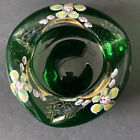 BOHEMIAN ART GLASS GREEN  GOLD HAND BLOWN HAND PAINTED ASHTRAY CIGAR VINTAGE