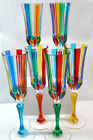 Murano Hand Painted Colorful Swatch Champagne Glasses set of 2
