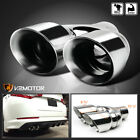 Inlet 26 Outlet 325 Muffler Tip Exhaust Tail Pipe Chrome Dual Round Rear