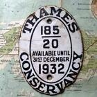 1932 Vintage Car Boat Mascot Badge Oval : Thames Conservancy Pleasure Vessel zz