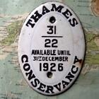 1926 Vintage Car Boat Mascot Badge Oval : Thames Conservancy Pleasure Vessel zz