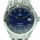 AUTH OMEGA WATCH SEAMASTER ANALOG AUTOMATIC NAVY BLUE DIAL SS CASE 36MM F/S