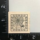 Outlines Spider Web Square Wood Mounted Rubber Stamp Halloween