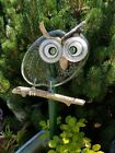 garden yard art glass owl hand made with repurposed dishes buttons marbles