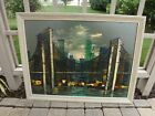 Large CUBISM 1950s Oil Painting signed Mid Century Modern Skyscrapers Bridge