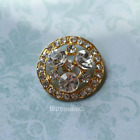 5 to 20 Crystal Rhinestone Buttons 27mm RS 006 in gold finish
