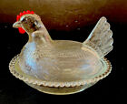 VINTAGE Clear NESTING GLASS CHICKEN HEN NEST COVERED CANDY/Buuter DISH BOWL LID