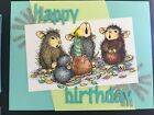 Stampendous cling mounted rubber stamp House Mouse BON BON BIRTHDAY