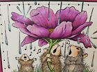 Stampendous cling mounted rubber stamp HOUSE MOUSE PEONY SONG