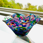 Glass Eye Studio Mini Wave Bowl Peacock NEW Official GES Hand-Blown in Seattle