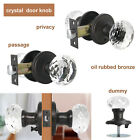 Diamond Crystal Glass Privacy Door Knobs Oil Rubbed Bronze Clear Passage Handle