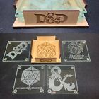 DD Dungeons and Dragons Glass Coaster 4 piece Set Laser Engraved with Stand