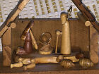 Small Hand Carved Wood Nativity Scene Abstract Figures  Jesus in Stable Manger