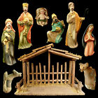 CHRISTMAS NATIVITY SET PORCELAIN FIGURES WOODEN CRECHE 10 PIECE SET