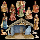 CHRISTMAS NATIVITY 10 PORCELAIN FIGURES UNIQUE STONE  BARK WOODEN CRECHE