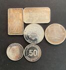Silver Bar And Coins total 5 Oz of 999 Silvet