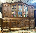 Superb Antique 10 Louis XV French Walnut Bookcase Display Cabinet Beveled Glass