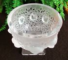 Lalique France Elizabeth Satin Crystal Vase Sparrows Flora Fauna Bowl Art Glass