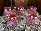 Fenton Cranberry Hobnail Cranberry Opalescent Glass Ruffled Lamp Shade 6 Fitter