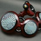 Hand Made Glass By Daily Driver  3 Disc Bubbler Red w Reticello For Tobacco