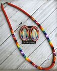 Native American Beaded Red 26 1 2 Necklace Post Earrings Rainbow Powwow Set