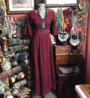 GORGEOUS VINTAGE MEXICAN BURGUNDY PINTUCK WITH LACE TRIM WEDDING DRESS S M