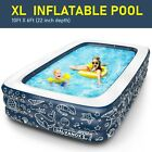 EXTRA LARGE Inflatable Pool Above Ground Swimming Pool for Kiddie Kids 22 Deep