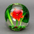 Vintage Murano Italy Lily Flower Leaves Frog Millefiori Art Glass Paperweight
