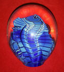 EICKHOLT Glass Paperweight SIGNED Shades of Blue 4 Tall Well Over 2 1 2 Pounds