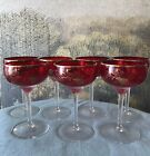 Vintage Ruby Glass Gold Trim Champagne Coupe Tall Sherbet Stemware Set of 7