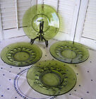4 Vintage Green Indiana Colony Glass Kings Crown 8 1/4
