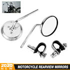 Chrome Motorcycle Retro Round Rearview Mirror 10mm Bolts Cruisers Sport bike