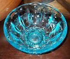 Anchor Hocking Fairfield Laser Blue Glass Compote Candy Dish Sunburst 1972