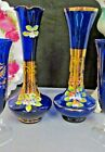 BOHEMIAN Czech cobalt vases gold with applied relief flowers painted beaded