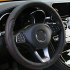 Car Steering Wheel Cover Protector PU Leather Skid proof Black+Red 15 37 38CM