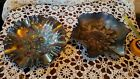 2 FENTON BOWL DISH CARNIVAL BLUE LEAF HOLLY BERRY RUFFLED FLUTED EDGE