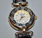 Vintage Gold Tone Murano Glass Venice Wrist Watch Black White Mother of Pearl