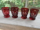 Vintage Set of 4 BOHEMIAN GLASS Ruby RED Cut to Clear SHOT GLASS