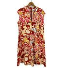 Natori Alice Throught the Looking Glass Dress Womens 16W Red Floral Fit Flare