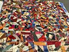 old Crazy Quilt handmade satins square 86 x 86 inches dates on it is 1890