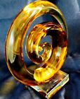 Modern Murano Art Glass Sculpture Figurine Amber Clear Glass Swirl