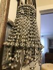 Stunning Antique Vintage Czech Glass Beaded Lamp Shade With Flowers Rare