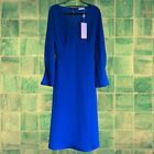 89 NEW BNWT Finery Lykke Midi Dress Size 16 Cobalt Blue Pinched Cuffs Sleeves